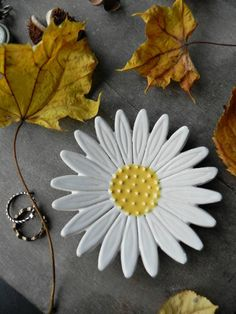 Excited to share the latest addition to my #etsy shop: Daisy Ceramic Ring Dish, Gardening Gift, White Flower Pottery, Botanical Gift, Jewelry Plate, Home Decoration, Flower Trinket Dish, X-mas