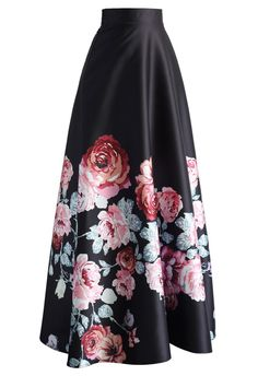 Endless Blooming Rose Maxi Skirt - Bottoms - Retro, Indie and Unique Fashion Long Pleated Maxi Skirt, Long A Line Skirt, Maxi Skirt Black, Printed Maxi Skirts, Chicwish Skirt, Floral Print Skirt, Floral Maxi, Floral Skirts, Stylish Clothes For Women