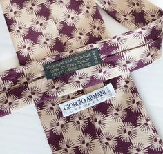 Giorgio Armani Cravatte 100% Silk Tie Necktie Art Deco Psychedelic Diamonds NWOT #GiorgioArmani #NeckTie