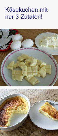 Großer Test: Wie schmeckt der Käsekuchen mit nur 3 Zutaten? http://www.gofeminin.de/kochen-backen/kasekuchen-3-zutaten-s1499559.html #kuchen #cheesecake