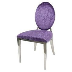 Charlene side chair in purple - The classic Louis-style silhouette gets a fresh and feminine update in this chic side chair, showcasing a polished frame and punchy purple upholstery. Funky Furniture, Bar Furniture, Accent Furniture, Furniture Deals, Purple Furniture, Stylish Chairs, Cool Chairs, Side Chairs, Purple Dining Chairs