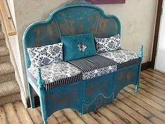 Headboard and upside down footboard turned into an adorable bench!