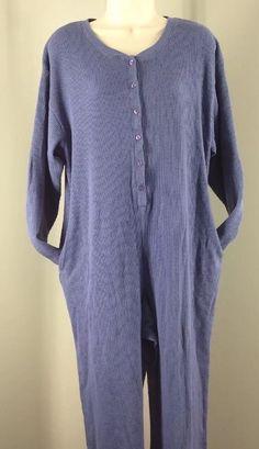 Victoria's Secret Thermal Union Suit Pockets Large Lavender Purple One Piece #VictoriasSecret #PajamaSets #Everyday