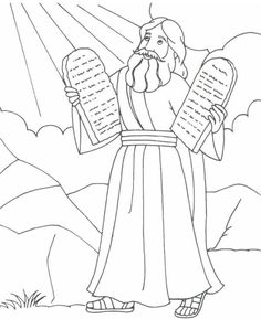 Moses holding the stone tablets of the 10 Commandments (Exodus 20, Deuteronomy 5)