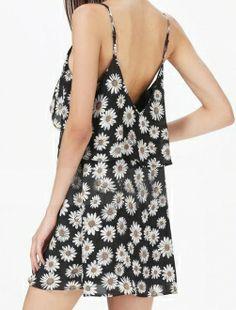 Black Deep V Back Sunflower Printed Tiered Spaghetti Straps Dress