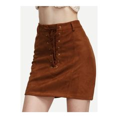 SheIn(sheinside) Camel Faux Suede Lace Up A Line Skirt ($19) ❤ liked on Polyvore featuring skirts, camel, short skirts, camel a line skirt, vintage skirts, camel skirt and short brown skirt