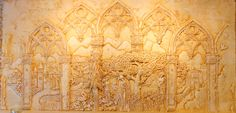 Sculpted plaster relief by Ellie Ellis,CMS. Bas relief, High Relief, Fireplace refinishing.