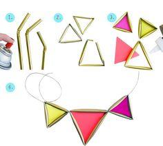 DIY Tutorial: Pasos para hacer un collar de triangulos dorados y neón con pajitas. Click y luego nos cuentan cómo les fue.