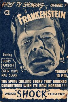 """Ad for first TV showing of """"Frankenstein"""" on Chicago's channel 7."""