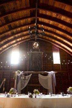 rustic barn wedding--arbor head table
