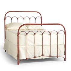"BETHANY BED -- Inspired by an early 20th-century iron bedstead, we've reproduced its knobs and arches in cast iron and aluminum, replicating the timeworn patina. The easy versatility of the design makes it as charming in a lakefront cottage as it is in a TriBeCa loft. Handmade in the USA. Full, 76""L x 55""W x 55""H, Queen, 82""L x 61""W x 55""H, King, 82""L x 77""W x 55""H, Cal king, 86""L x 73""W x 55""H"