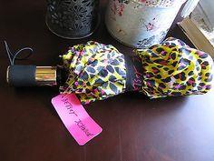 New Betsey Johnson Designer Brand Pink & Black Cheetah Print Auto Open Umbrella