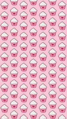 Cupcakes  - Tap to see more cute food cartoon wallpapers! | @mobile9