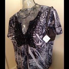 APT 9 Lace Front Black White Blouse APT Black/white blouse. Apt. 9 Tops Blouses
