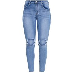 Onna Mid Wash Open Knee Rip Jean ($39) ❤ liked on Polyvore featuring jeans, pants, bottoms, calça, high-waisted skinny jeans, distressed jeans, skinny jeans, destroyed skinny jeans and blue ripped skinny jeans