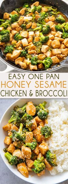 Honey Sesame Chicken Honey Sesame Chicken and Broccoli is made in one pan and ready to eat in 20 minutes! You will love the mouthwatering sauce full of sesame garlic and honey! Top Recipes, Asian Recipes, Cooking Recipes, Recipies, Clean Eating, Healthy Eating, One Pot Meals, Easy Meals, Meals For One