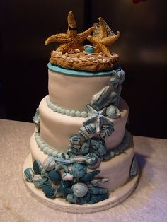 Cascading Shells (Blue) Wedding Cake - We could do something similar for a Thames River Wedding!