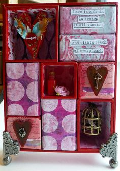 Valentine Curio Box  featuring #GelliPlate printed papers  by nikimaki #Valentine #mixedmedia