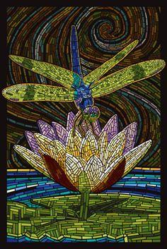 Dragonfly - Paper Mosaic - Lantern Press Poster