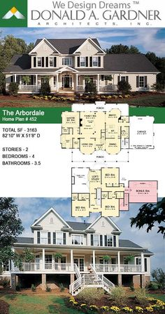 Country Style House Plans, Dream House Plans, Dream Houses, House Floor Plans, Farmhouse Design, Farmhouse Style, Two Story Homes, Bays, Guest Bedrooms