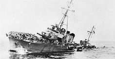 The French destroyer BOURRASQUE sinking off Dunkirk loaded with troops, 30 May 1940.