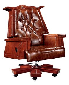 KM Executive Chair, President Chair Vintage Wood Reclining Leather Boss Chair Managerial Chairs Computer Chair Office Chair 360 Degree Swivel Home online shopping - Night And Day Furniture, Home Office Furniture, Vintage Chairs, Vintage Wood, Large Computer Desk, Retro Office Chair, Home Online Shopping, Mesh Chair, Executive Chair
