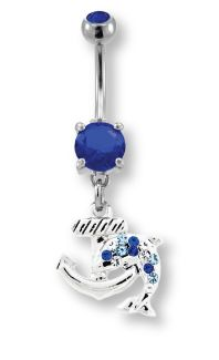 .Anchor with Dolphin Belly Ring