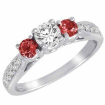 Platinum Round 3 Stone Diamond and Garnet Engagement Ring With Milgrain Pave Set  So delicate and feminine 	  List Price: 	$3,100.00 your Price: 	$1,849.47  http://astore.amazon.com/greabcustomjewellery-20/detail/B00DTKNZ28
