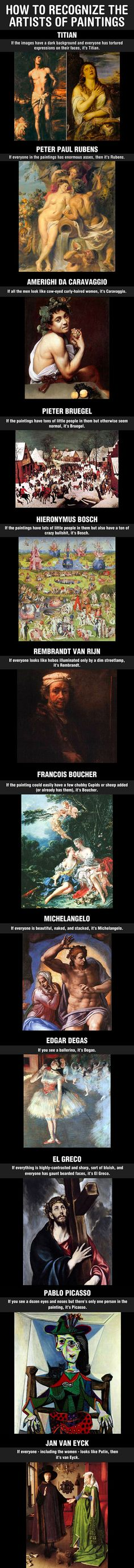 The best way to recognize the artists of paintings… I take AP Art History and…