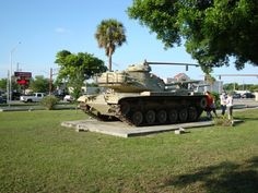 World War Two tank in the downtown mall park of Okeechobee, Florida.
