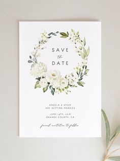 Printable Save the Date Template White Florals Editable Boho Wedding White Rose Save the Date Instan Printable Wedding Invitations, Wedding Invitation Design, Wedding Stationery, Invitation Kits, Shower Invitations, Invites, Wedding Tips, Boho Wedding, Wedding Cards
