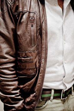 leather jacket, striped belt