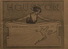 Houston: Where Seventeen Railroads meet the sea. 28 page pamphlet, commissioned by the Houston Chamber of Commerce in 1923, was one of the earliest to contain color photographs of Houston, shown here in 25 scenes. Houston the Magnolia City (Public Domain). Special Collections, University of Houston Libraries.
