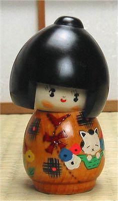 Japanese wooden souvenirs dolls
