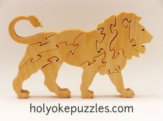 Lion Jigsaw Puzzle in Poplar by HolyokePuzzles on Etsy