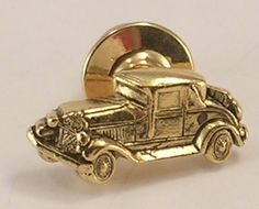 Gold Colored Metal Tie Tack of a Vintage Automobile Has an Antiqued Finish Avon #Avon
