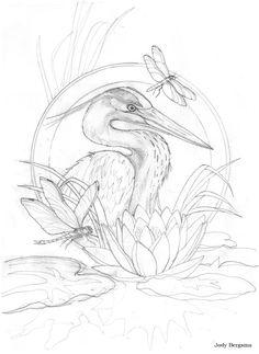 Kleurplaat Bergsma Gallery Heron & Dragonfly - Original Sketch