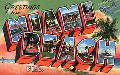 GREETINGS FROM MIAMI BEACH. Florida USA..Vintage Travel Poster ...