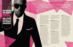A spread on hip-hop producer and artist Kanye West as if placed in Nylon magazine. Editorial Example, Editorial Design, Graphic Design Resume, Brochure Design, Kanye West, Magazin Design, Magazine Layout Design, Magazine Layouts, Annual Report Design