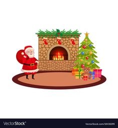 Christmas holiday scene vector image on VectorStock Christmas Stockings, Christmas Holidays, Spruce Tree, Adobe Illustrator, Vector Free, Balls, Santa, Pdf, Scene