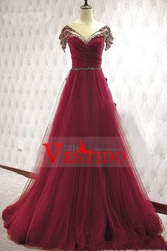 2016 A Line Prom Dresses Scoop Tulle