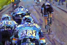 "#IanStannard 3 against won #Omloop2015 | acrylic on canvas board 8x12"" by rob ijbema this painting is available at jbemaa@gmail.com  via #PaintingLeTour"
