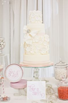 Lace cake dessert table
