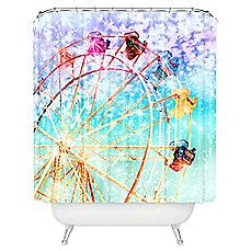 image of DENY Designs Lisa Argyropoulos Galaxy Shower Curtain in Blue