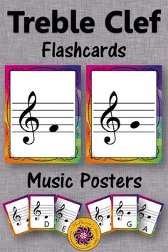 Treble Clef Flashcards and Posters! Perfect for the elementary music classroom! #musiced #musiceducation #McPhersonsMusicRoom #orff #kodaly