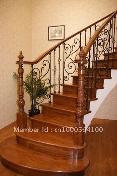 Wrought iron fence iron and wood staircase Picture - More Detailed ...