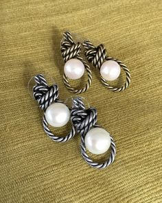 Rope Knot Stud Earrings with Fresh Water Pearl by mypurplebasket