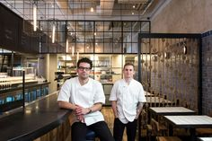George Mendes, left, the chef and owner of Lupulo, with Brad Willits, the chef de cuisine. (Photo: Karsten Moran for The New York Times)