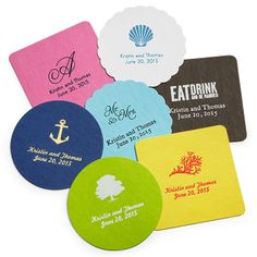 Deluxe Personalized Wedding Coasters $15 for 100!! SO CUTE! party favor idea