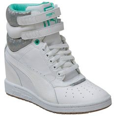NON-TRADITIONAL WEDDING SHOES: White Puma Women's Sky Wedge High-Top Sneaker shoes